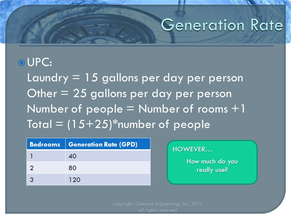 UPC: Laundry = 15 gallons per day per person Other = 25 gallons per day per person Number of people = Number of rooms +1 Total = (15+25)*number of people copyright: Glenrose Engineering, Inc., 2011 all rights reserved BedroomsGeneration Rate (GPD) 140 280 3120 HOWEVER… How much do you really use