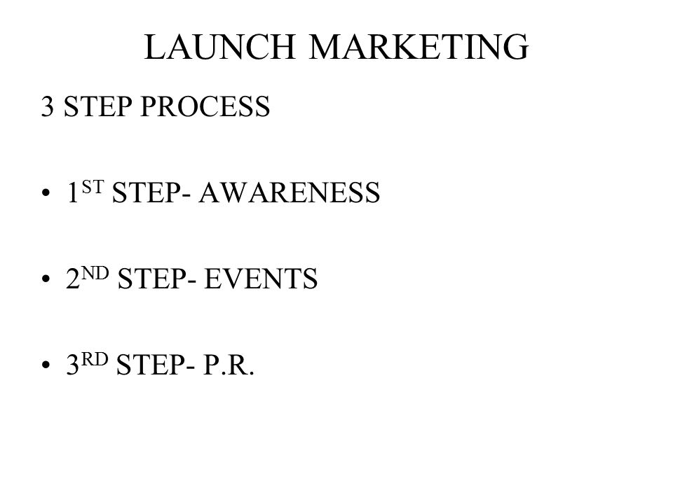 LAUNCH MARKETING 3 STEP PROCESS 1 ST STEP- AWARENESS 2 ND STEP- EVENTS 3 RD STEP- P.R.