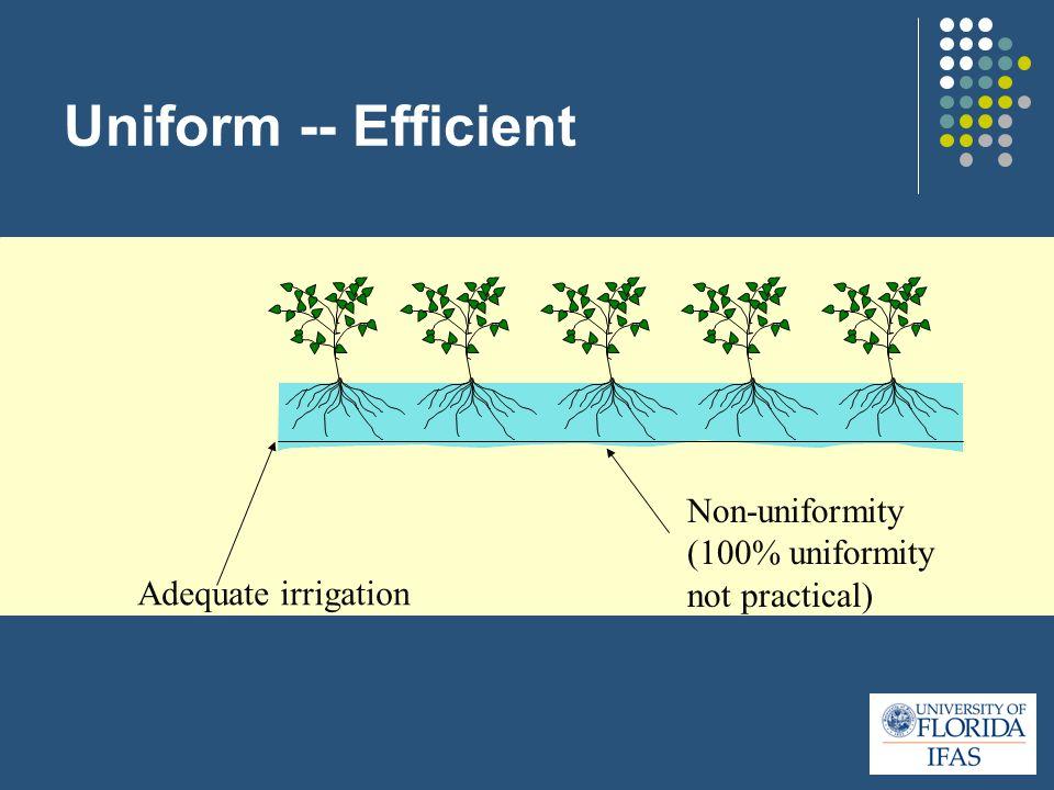Uniform -- Efficient Non-uniformity (100% uniformity not practical) Adequate irrigation