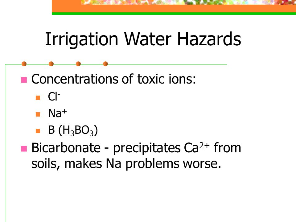Irrigation Water Hazards Concentrations of toxic ions: Cl - Na + B (H 3 BO 3 ) Bicarbonate - precipitates Ca 2+ from soils, makes Na problems worse.