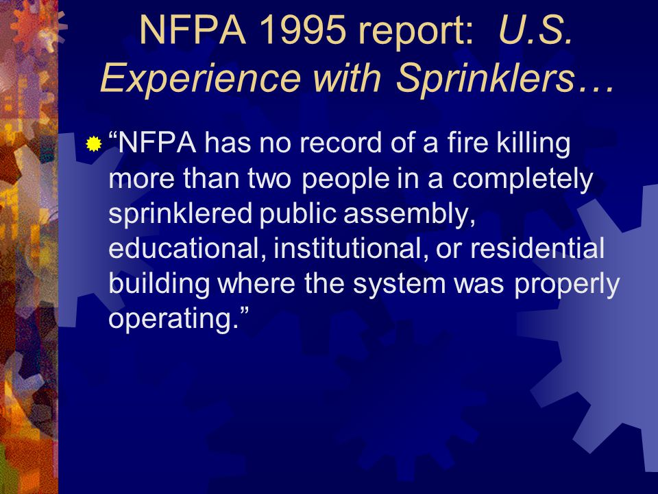 Residential Sprinkler Systems (cont.)  The main differences between a commercial sprinkler system (NFPA 13) and a residential sprinkler system is the sprinkler heads and the incoming service arrangement sprinkler heads the incoming service arrangement  Response Time vs.