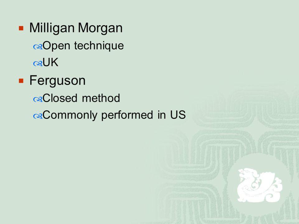  Milligan Morgan  Open technique  UK  Ferguson  Closed method  Commonly performed in US
