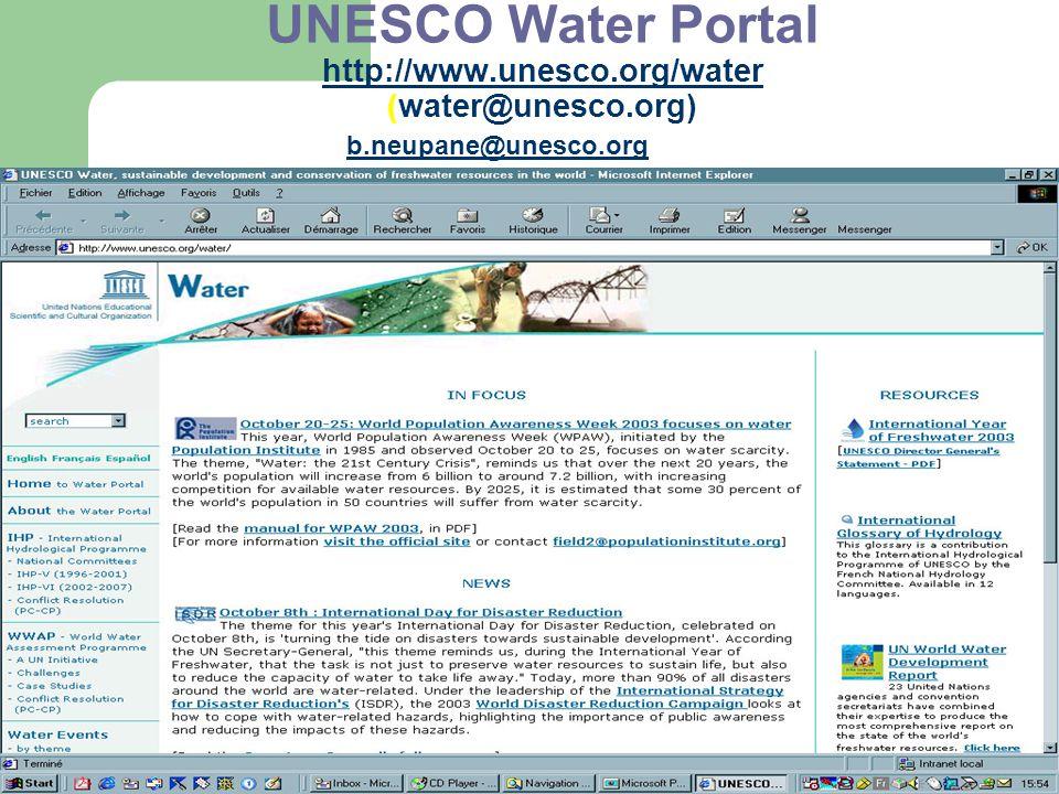 UNESCO Water Portal http://www.unesco.org/water (water@unesco.org) http://www.unesco.org/water b.neupane@unesco.org