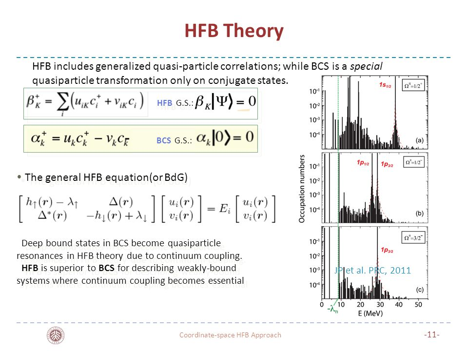 HFB Theory Coordinate-space HFB Approach -11- Deep bound states in BCS become quasiparticle resonances in HFB theory due to continuum coupling.