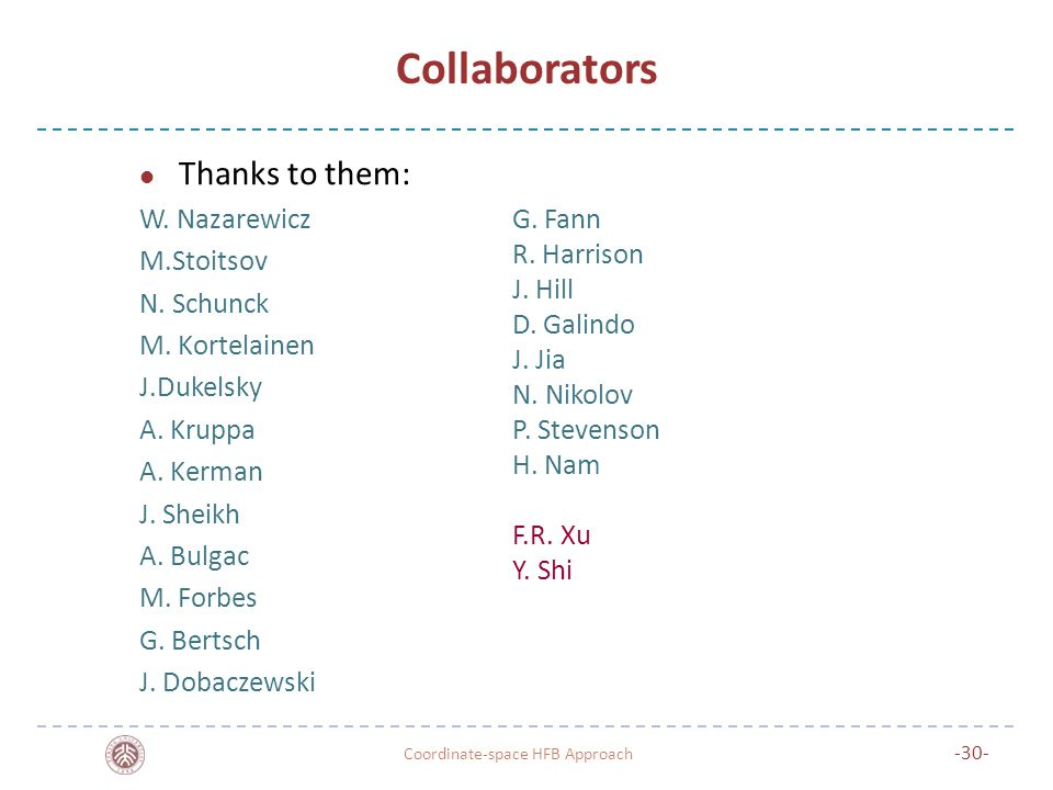 Collaborators Thanks to them: W. Nazarewicz M.Stoitsov N.
