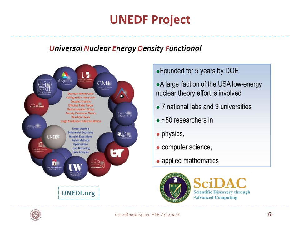 UNEDF Project -6- Coordinate-space HFB Approach UNEDF.org Universal Nuclear Energy Density Functional