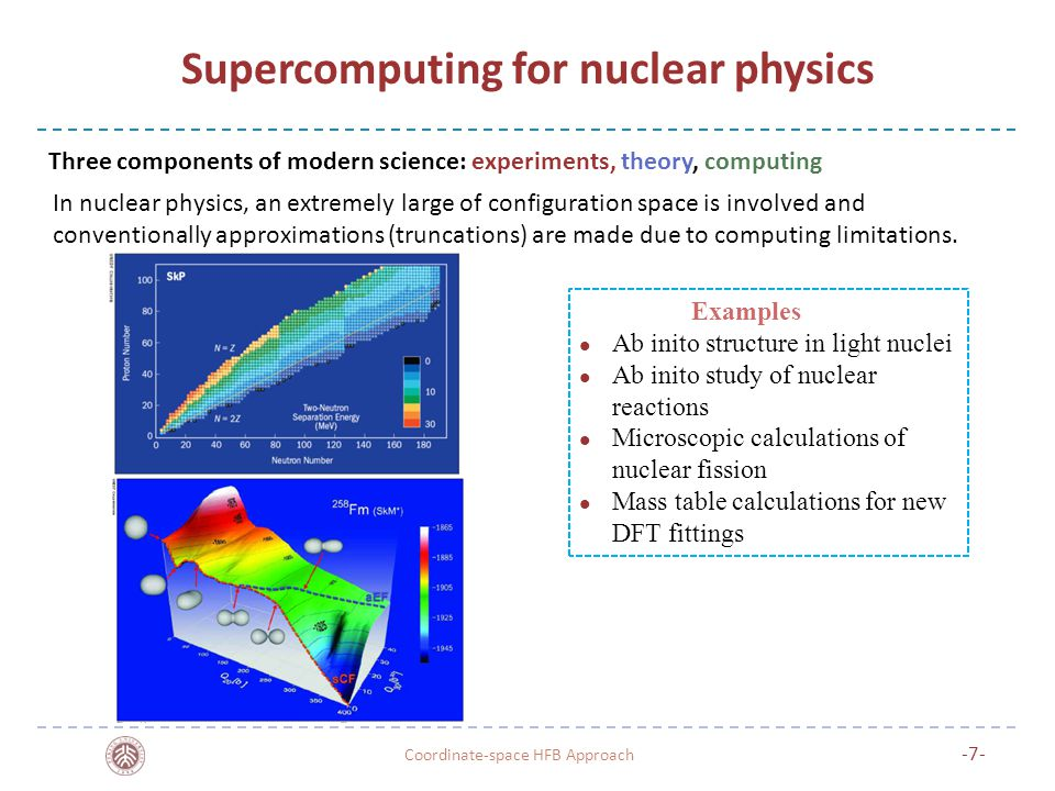 Supercomputing for nuclear physics Coordinate-space HFB Approach -7- Examples Ab inito structure in light nuclei Ab inito study of nuclear reactions Microscopic calculations of nuclear fission Mass table calculations for new DFT fittings Three components of modern science: experiments, theory, computing In nuclear physics, an extremely large of configuration space is involved and conventionally approximations (truncations) are made due to computing limitations.