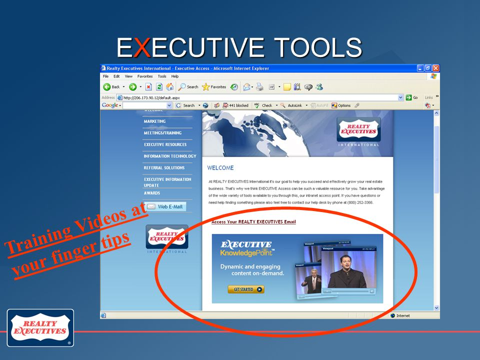 EXECUTIVE TOOLS Training Videos at your finger tips