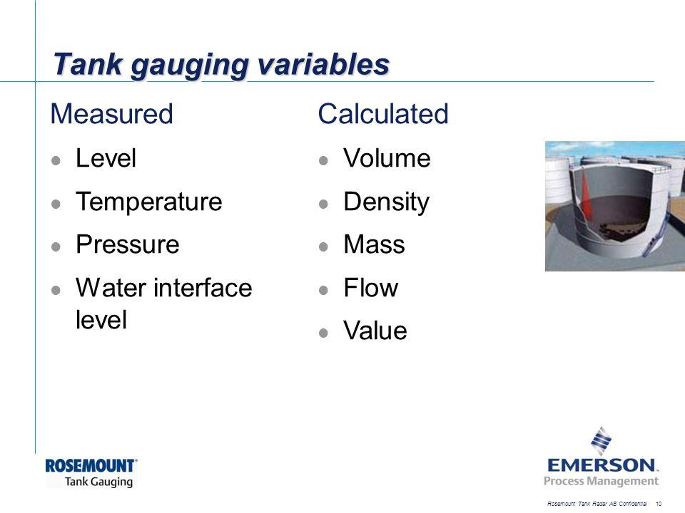 [File Name or Event] Emerson Confidential 27-Jun-01, Slide 10 Rosemount Tank Radar AB Confidential 10 Tank gauging variables Measured Level Temperatur