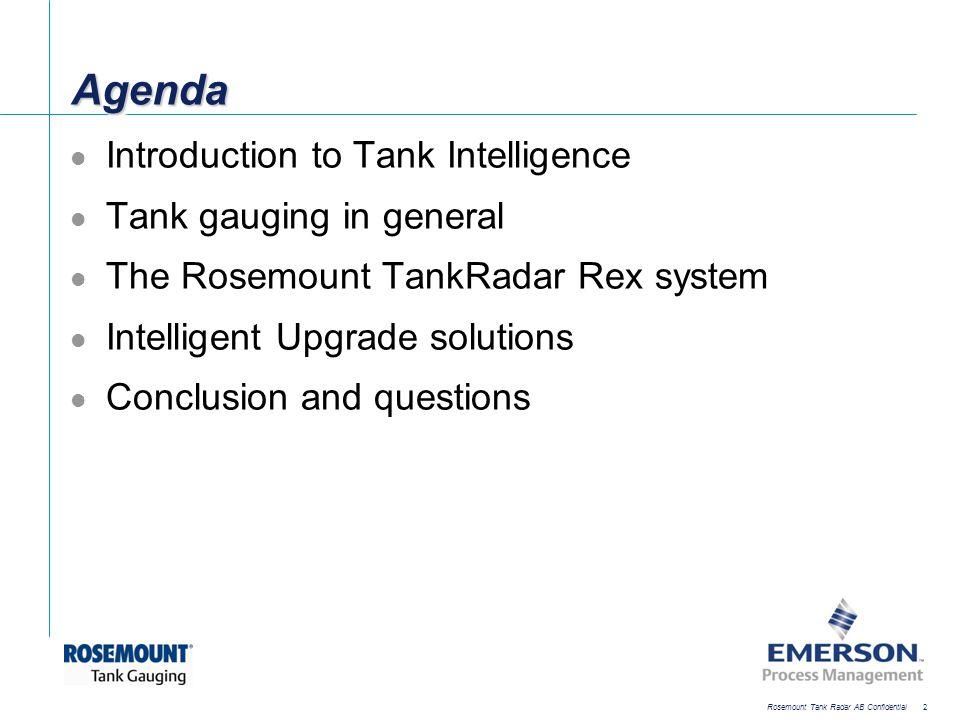 [File Name or Event] Emerson Confidential 27-Jun-01, Slide 2 Rosemount Tank Radar AB Confidential 2 AgendaAgenda Introduction to Tank Intelligence Tan