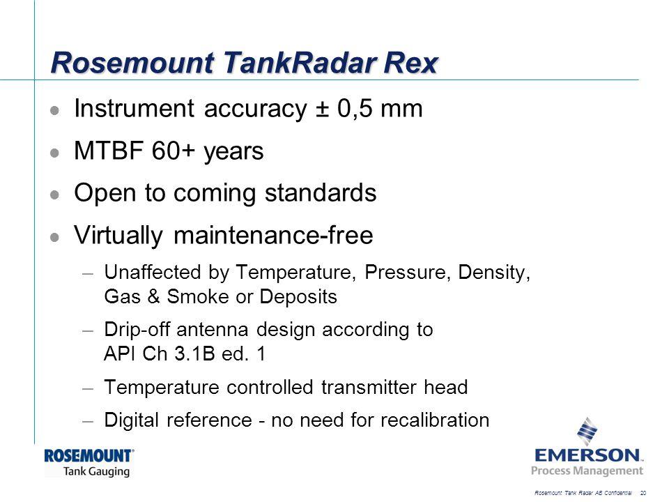 [File Name or Event] Emerson Confidential 27-Jun-01, Slide 20 Rosemount Tank Radar AB Confidential 20 Rosemount TankRadar Rex Instrument accuracy ± 0,