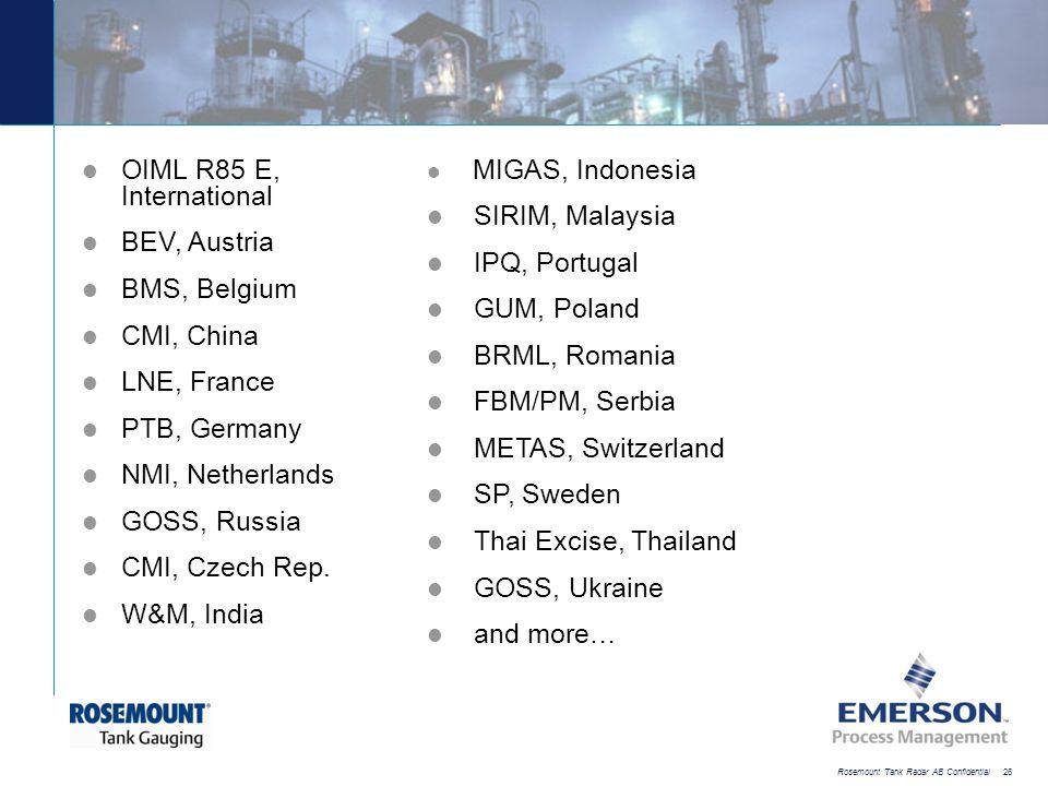 [File Name or Event] Emerson Confidential 27-Jun-01, Slide 26 Rosemount Tank Radar AB Confidential 26 OIML R85 E, International BEV, Austria BMS, Belg