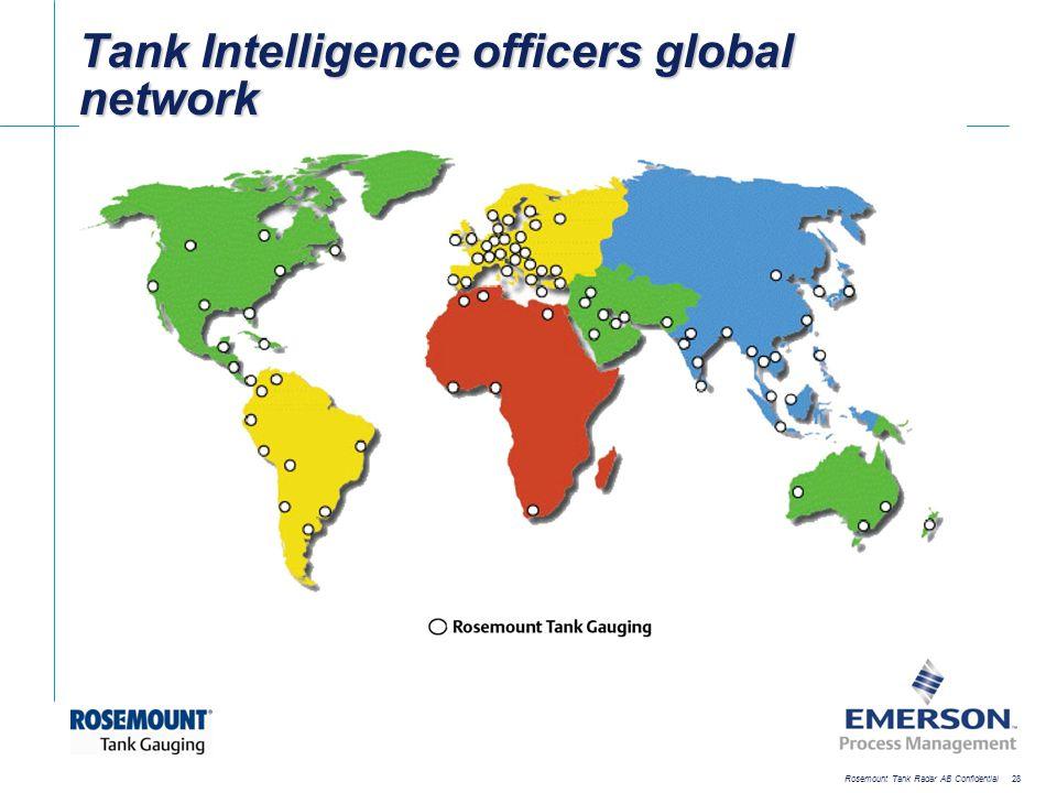 [File Name or Event] Emerson Confidential 27-Jun-01, Slide 28 Rosemount Tank Radar AB Confidential 28 Tank Intelligence officers global network