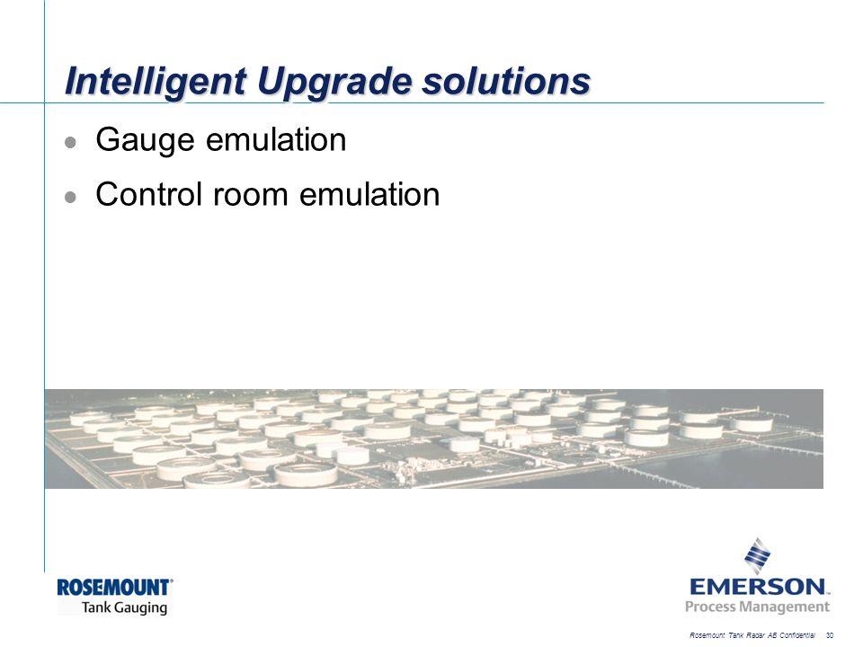 [File Name or Event] Emerson Confidential 27-Jun-01, Slide 30 Rosemount Tank Radar AB Confidential 30 Intelligent Upgrade solutions Gauge emulation Co