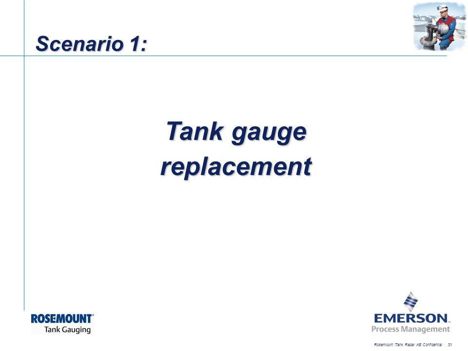 [File Name or Event] Emerson Confidential 27-Jun-01, Slide 31 Rosemount Tank Radar AB Confidential 31 Scenario 1: Tank gauge replacement