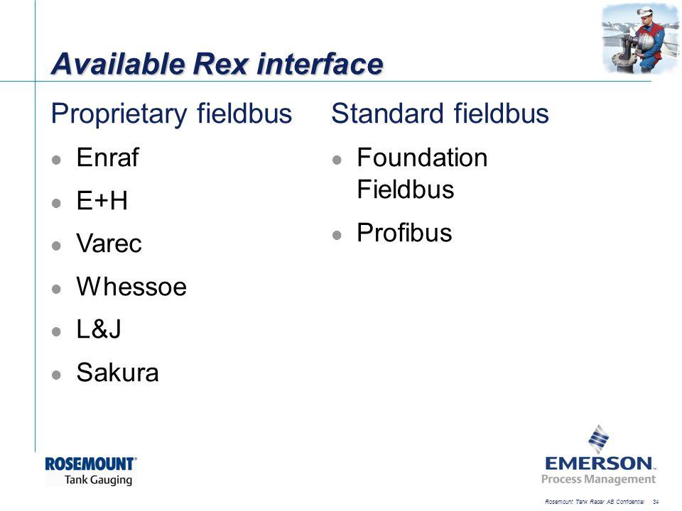 [File Name or Event] Emerson Confidential 27-Jun-01, Slide 34 Rosemount Tank Radar AB Confidential 34 Available Rex interface Proprietary fieldbus Enr