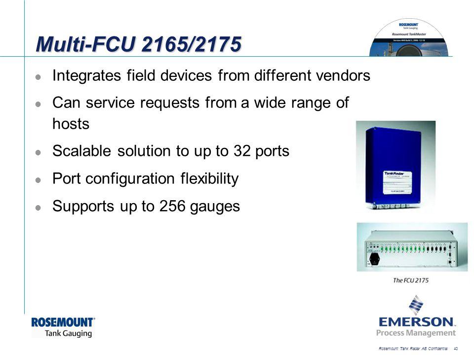[File Name or Event] Emerson Confidential 27-Jun-01, Slide 40 Rosemount Tank Radar AB Confidential 40 Multi-FCU 2165/2175 Integrates field devices fro