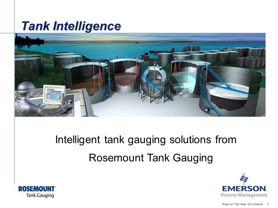 [File Name or Event] Emerson Confidential 27-Jun-01, Slide 6 Rosemount Tank Radar AB Confidential 6 Tank Intelligence Intelligent tank gauging solutio