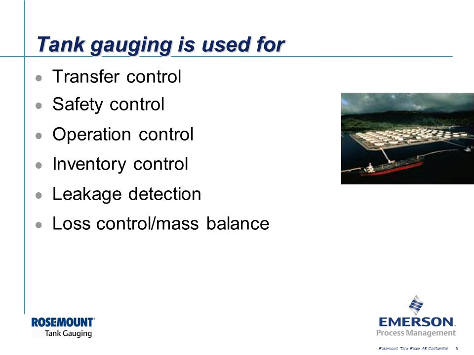 [File Name or Event] Emerson Confidential 27-Jun-01, Slide 40 Rosemount Tank Radar AB Confidential 40 Multi-FCU 2165/2175 Integrates field devices from different vendors Can service requests from a wide range of hosts Scalable solution to up to 32 ports Port configuration flexibility Supports up to 256 gauges