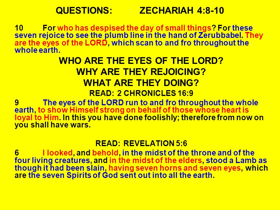 QUESTIONS:ZECHARIAH 4:8-10 10For who has despised the day of small things.