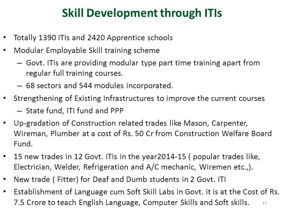 Totally 1390 ITIs and 2420 Apprentice schools Modular Employable Skill training scheme – Govt. ITIs are providing modular type part time training apar