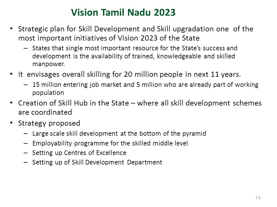 Strategic plan for Skill Development and Skill upgradation one of the most important initiatives of Vision 2023 of the State – States that single most