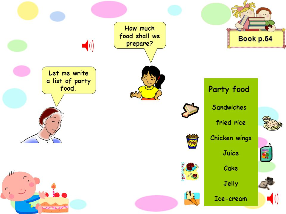 Jane and her mother are planning the party. Book p.54 Will you help me to write some lists.