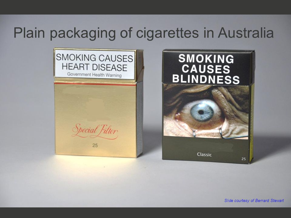 Plain packaging of cigarettes in Australia Slide courtesy of Bernard Stewart