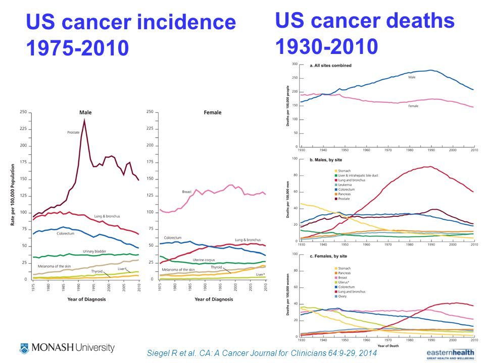 US cancer deaths 1930-2010 Siegel R et al.