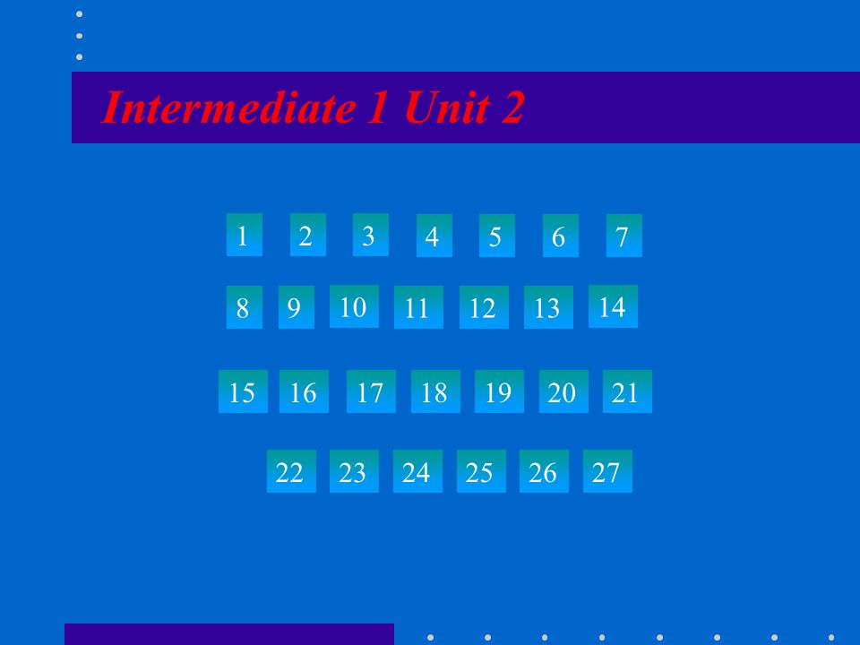Intermediate 1 Unit 2 123 4567 89 10 111213 14 15 22 23242526 27 161718192021