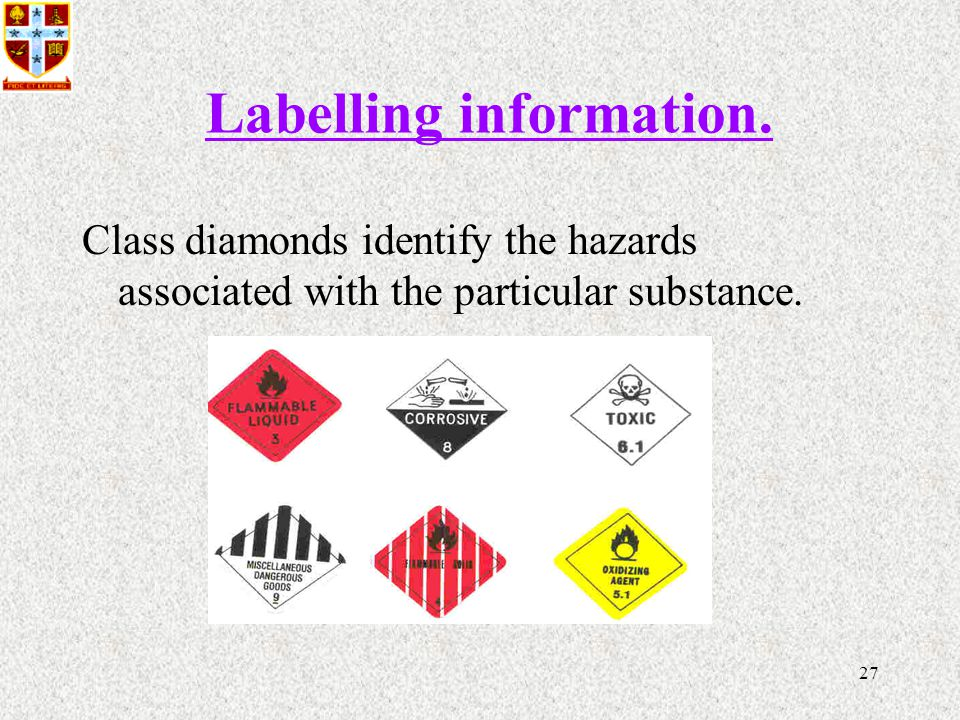 27 Labelling information.