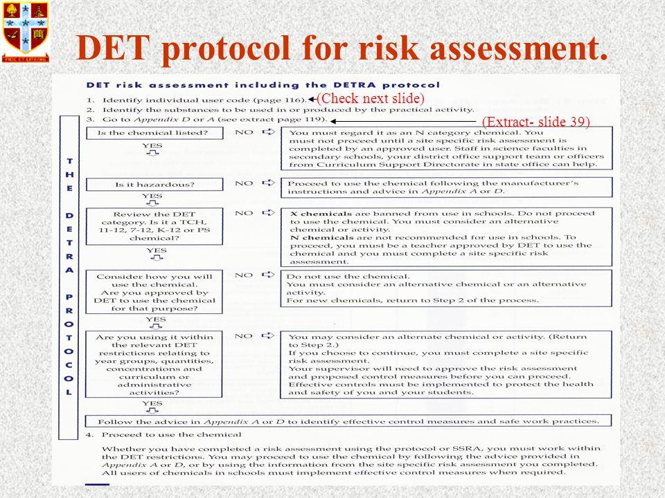 37 DET protocol for risk assessment. (Extract- slide 39) (Check next slide)