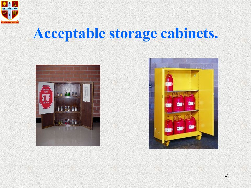 42 Acceptable storage cabinets.