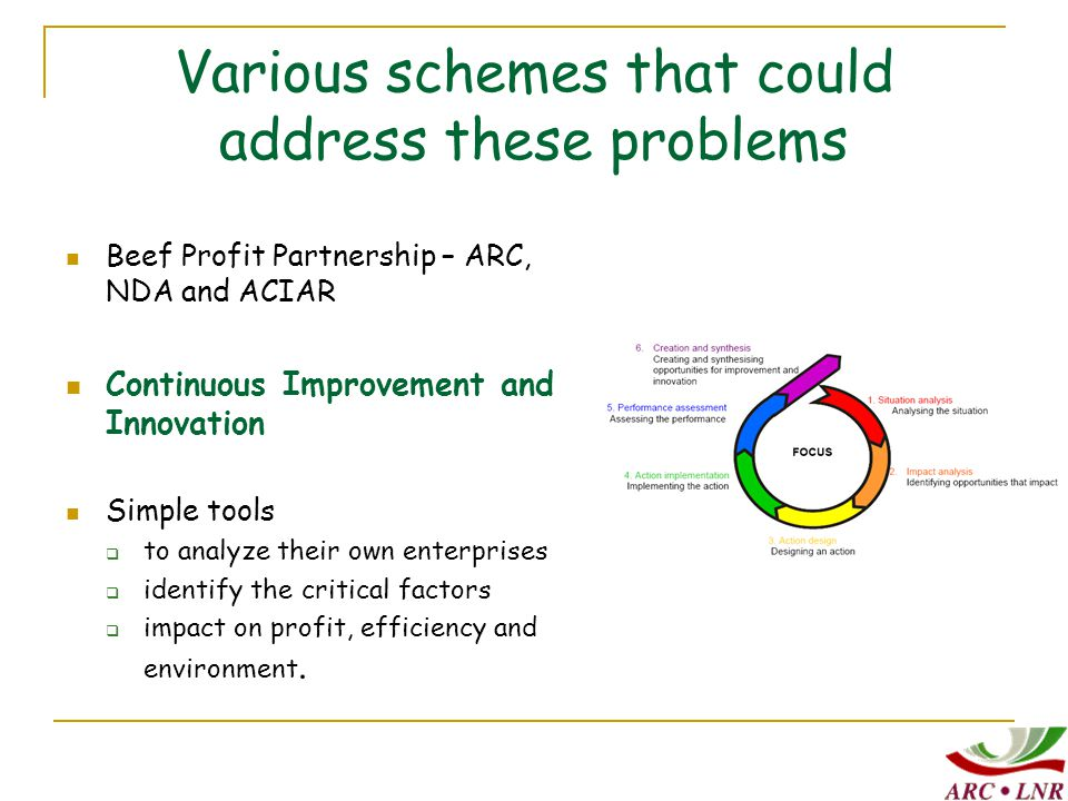 Various schemes that could address these problems Beef Profit Partnership – ARC, NDA and ACIAR Continuous Improvement and Innovation Simple tools  to analyze their own enterprises  identify the critical factors  impact on profit, efficiency and environment.