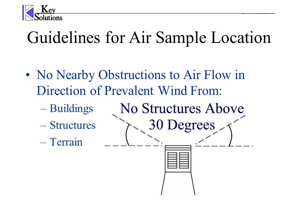 No Nearby Obstructions to Air Flow in Direction of Prevalent Wind From: –Buildings –Structures –Terrain Guidelines for Air Sample Location