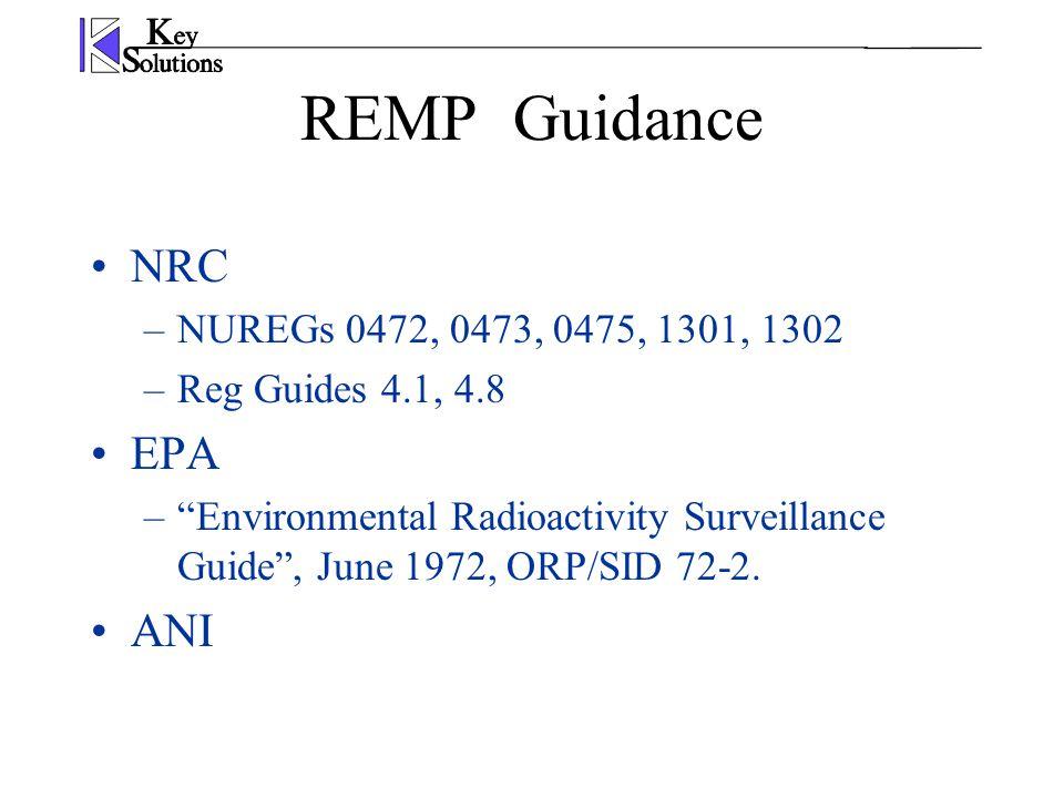 REMPGuidance NRC –NUREGs 0472, 0473, 0475, 1301, 1302 –Reg Guides 4.1, 4.8 EPA – Environmental Radioactivity Surveillance Guide , June 1972, ORP/SID 72-2.