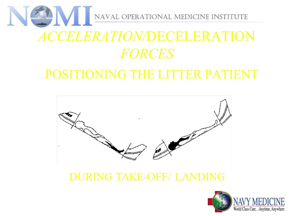 ACCELERATION/DECELERATION FORCES POSITIONING THE LITTER PATIENT DURING TAKE-OFF/ LANDING