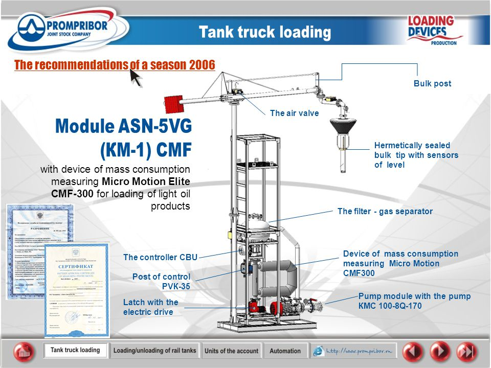with device of mass consumption measuring Micro Motion Elite CMF-300 for loading of light oil products The recommendations of a season 2006 The filter - gas separator Device of mass consumption measuring Micro Motion CMF300 Pump module with the pump КМС 100-8Q-170 Bulk post The controller CBU Hermetically sealed bulk tip with sensors of level The air valve Latch with the electric drive Post of control PVК-35