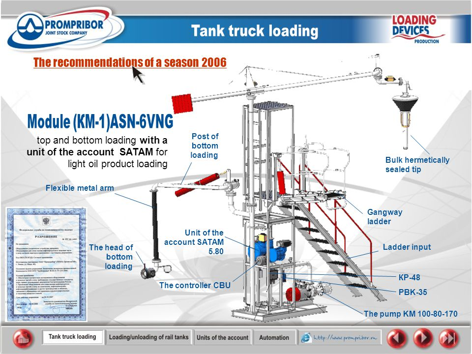 top and bottom loading with a unit of the account SATAM for light oil product loading The recommendations of a season 2006 Ladder input The pump KM 100-80-170 Unit of the account SATAM 5.80 Bulk hermetically sealed tip Gangway ladder The controller CBU PBK-35 КP-48 Flexible metal arm Post of bottom loading The head of bottom loading
