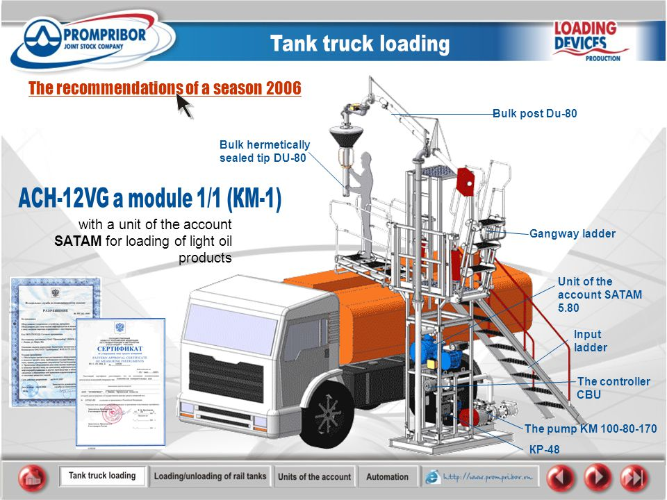 with a unit of the account SATAM for loading of light oil products The recommendations of a season 2006 The pump KM 100-80-170 Bulk hermetically sealed tip DU-80 Gangway ladder The controller CBU Input ladder КP-48 Unit of the account SATAM 5.80 Bulk post Du-80