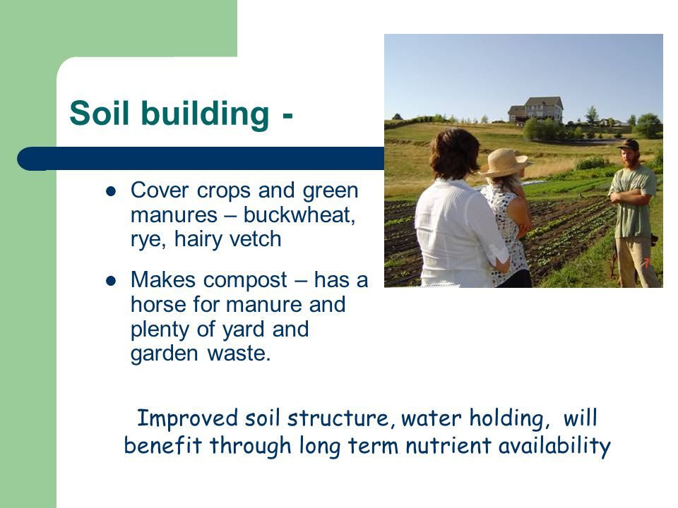 Soil building - Cover crops and green manures – buckwheat, rye, hairy vetch Makes compost – has a horse for manure and plenty of yard and garden waste.