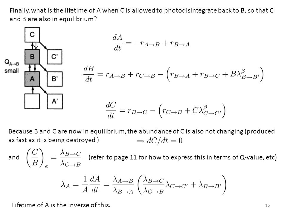 15 Finally, what is the lifetime of A when C is allowed to photodisintegrate back to B, so that C and B are also in equilibrium.
