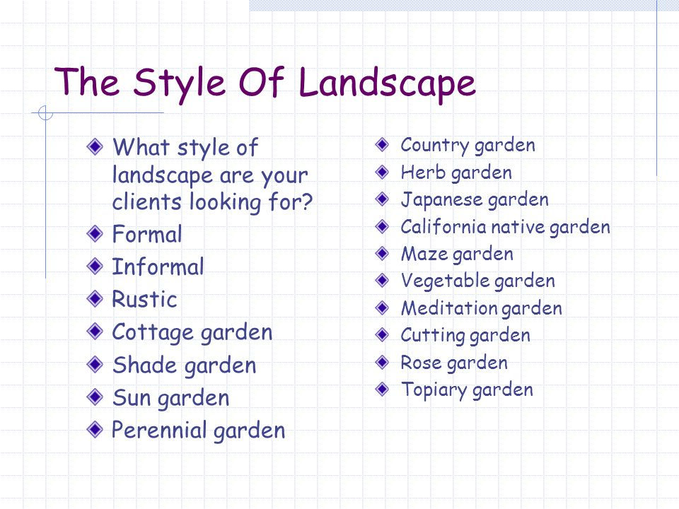 The Style Of Landscape Tropical gardens Parterre gardens Species-specific gardens Collections gardens Border gardens Gardens for the handicapped Raised beds Texture and scented gardens for the visually impaired