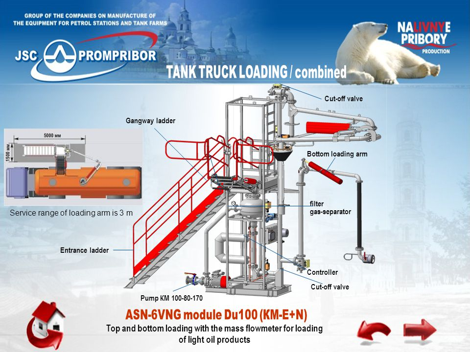 Top and bottom loading with the mass flowmeter for loading of light oil products Pump КМ 100-80-170 filter gas-separator Entrance ladder Bottom loading arm Cut-off valve Controller Gangway ladder Cut-off valve Service range of loading arm is 3 m