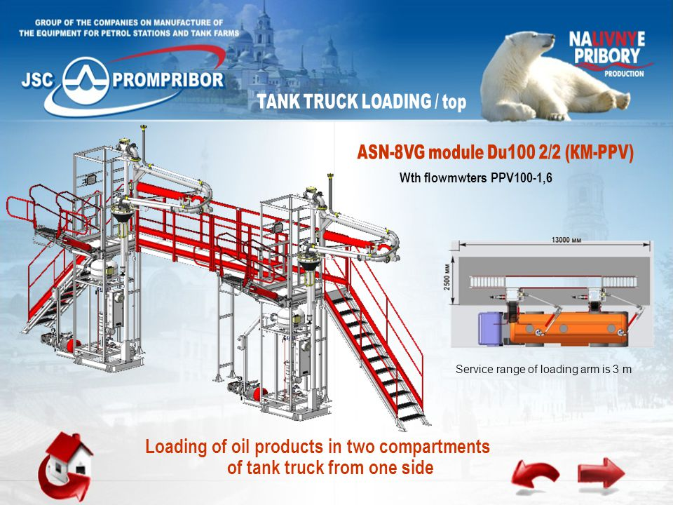 Wth flowmwters PPV100-1,6 Loading of oil products in two compartments of tank truck from one side Service range of loading arm is 3 m