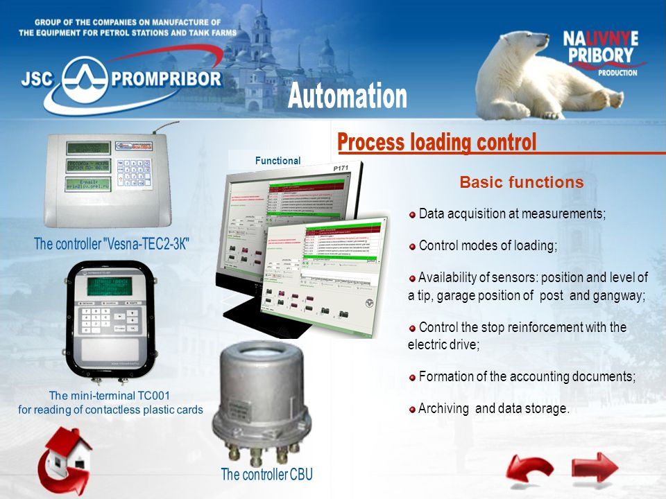Functional Data acquisition at measurements; Control modes of loading; Availability of sensors: position and level of a tip, garage position of post and gangway; Control the stop reinforcement with the electric drive; Formation of the accounting documents; Archiving and data storage.