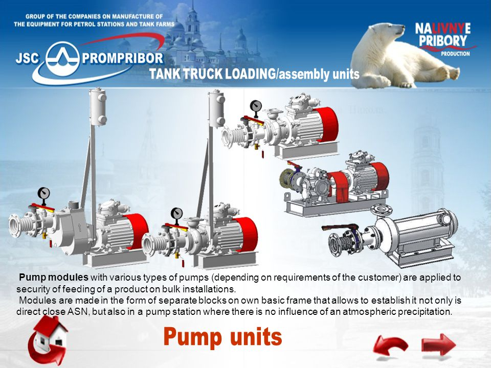 Pump modules with various types of pumps (depending on requirements of the customer) are applied to security of feeding of a product on bulk installations.