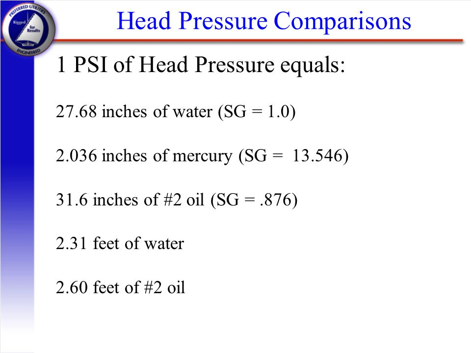 Head Pressure Comparisons 1 PSI of Head Pressure equals: 27.68 inches of water (SG = 1.0) 2.036 inches of mercury (SG = 13.546) 31.6 inches of #2 oil
