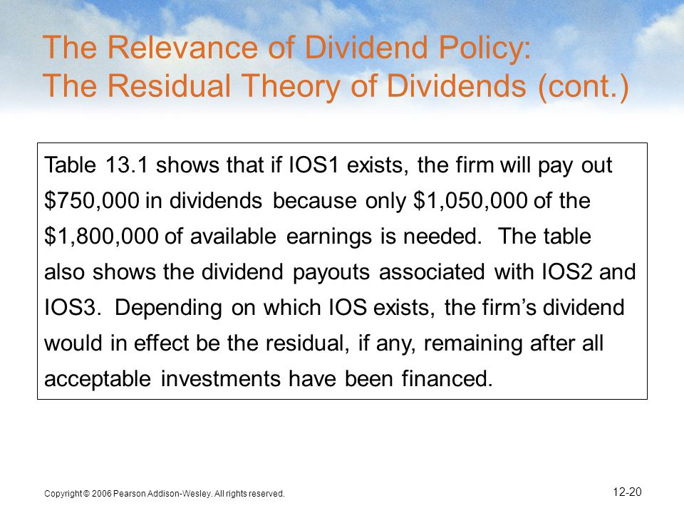 Copyright © 2006 Pearson Addison-Wesley. All rights reserved. 12-20 Table 13.1 shows that if IOS1 exists, the firm will pay out $750,000 in dividends