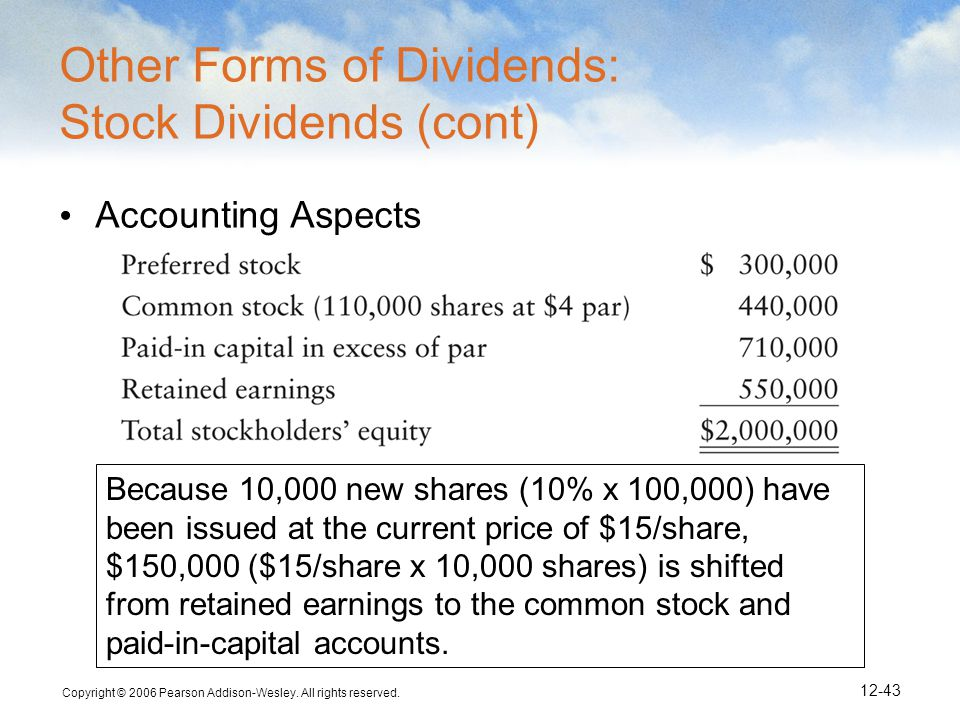 Copyright © 2006 Pearson Addison-Wesley. All rights reserved. 12-43 Other Forms of Dividends: Stock Dividends (cont) Accounting Aspects Because 10,000